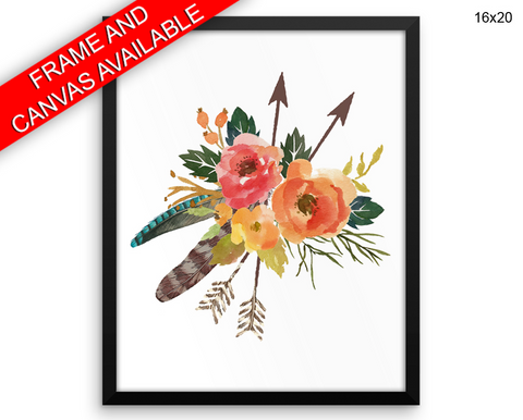 Flowers Bouquet Print, Beautiful Wall Art with Frame and Canvas options available  Decor