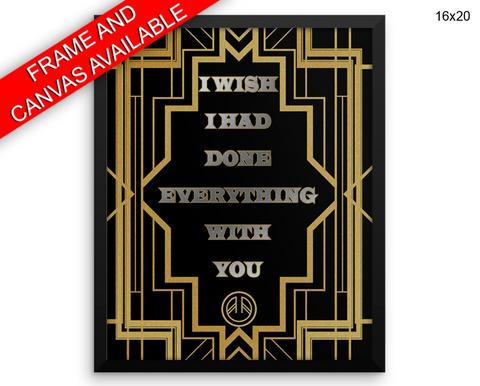 Gatsby Deco Print, Beautiful Wall Art with Frame and Canvas options available  Decor