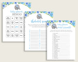 Elephant Blue Baby Shower Games Printable Pack, Blue Gray Baby Shower Games Package Boy, Elephant Blue Games Bundle Set, Instant ebl01