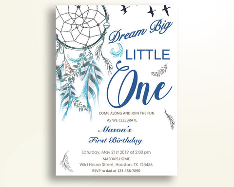 Dreamcatcher Birthday Invitation Wild One Party Boy Dream