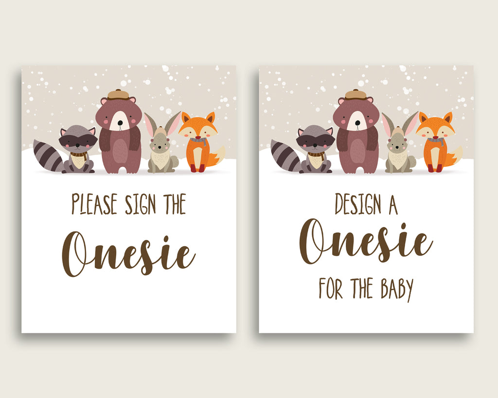 Beige Brown Please Sign The Onesie Sign and Design A Onesie Sign Printables, Winter Woodland Gender Neutral Baby Shower Decor, Instant RM4SN