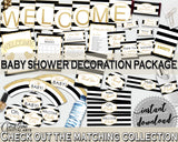 Baby Shower Decoration package bundle printable with Black Stripes for girls or boys, digital Jpg Pdf - Instant Download - bs001