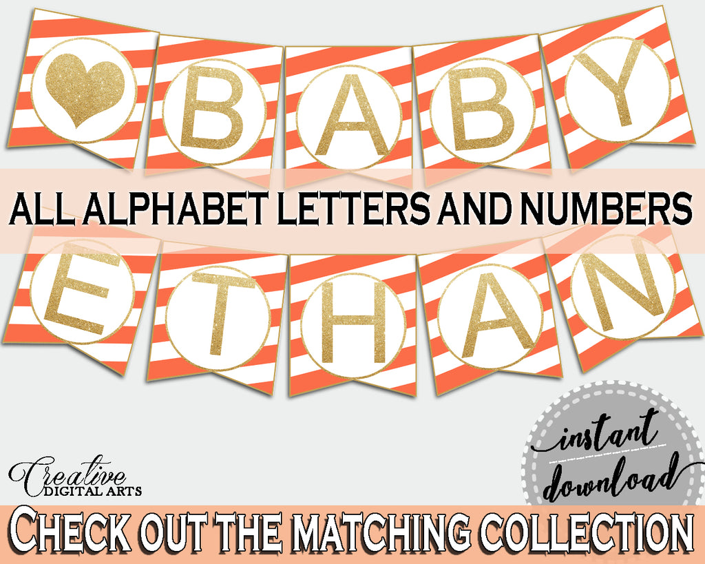 Baby shower BANNER printable with orange white strips color theme, glitter all letters banner, digital files, instant download - bs003