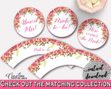 Cupcake Toppers And Wrappers Bridal Shower Cupcake Toppers And Wrappers Spring Flowers Bridal Shower Cupcake Toppers And Wrappers UY5IG - Digital Product