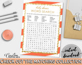 Baby Shower WORD SEARCH game with glitter and orange stripe themed printable, digital files jpg pdf, instant download - bs003