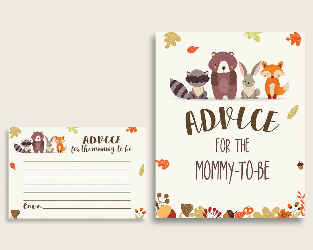 Woodland Advice For Mommy To Be Cards & Sign, Printable Baby Shower Brown Beige Advice For New Parents, Instant Download, Popular w0001