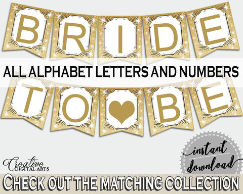 Banner in Glittering Gold Bridal Shower Gold And Yellow Theme, decor all letters, gold and glitter, digital download, pdf jpg - JTD7P - Digital Product