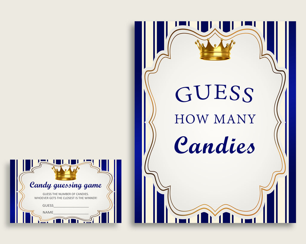 Blue Gold Candy Guessing Game, Royal Prince Baby Shower Boy Sign And Cards, Guess How Many Candies, Candy Jar Game, Jelly Beans rp001