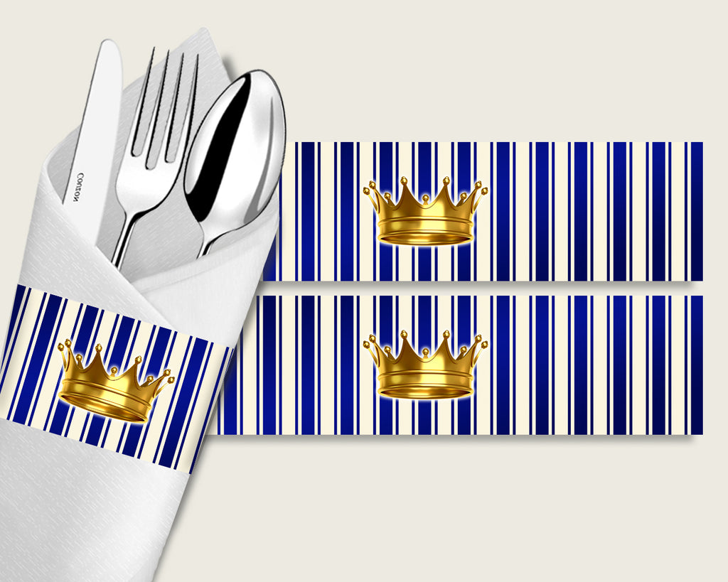 Royal Prince Baby Shower Napkin Rings Printable, Blue Gold Napkin Wrappers, Boy Shower Utensils Wrap, Instant Download, Royal Blue rp001