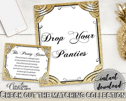 drop your panties in glittering gold bridal shower gold and yellow theme bridal panty game