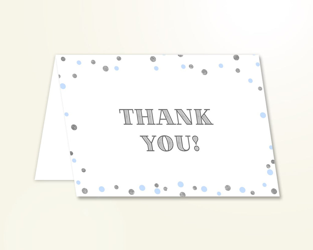 Thank You Card Baby Shower Thank You Card Blue And Silver Baby Shower Thank You Card Blue Silver Baby Shower Blue And Silver Thank You OV5UG - Digital Product