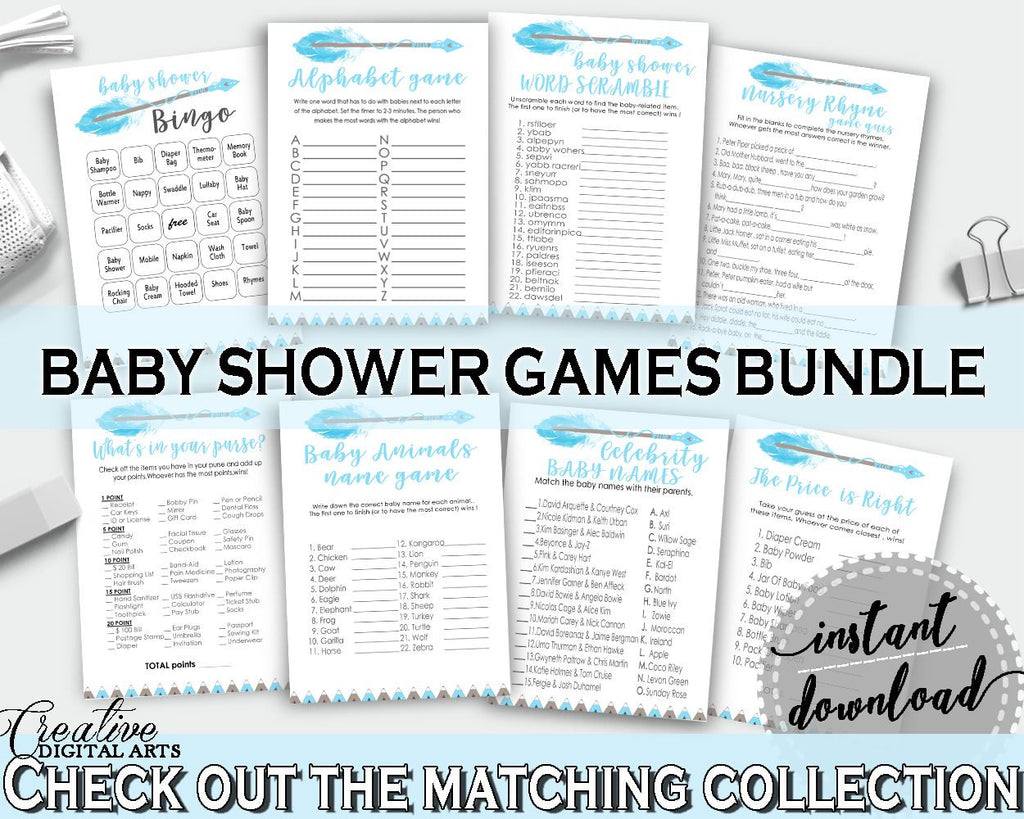 Games Baby Shower Games Aztec Baby Shower Games Blue White Baby Shower Aztec Games printable, paper supplies - QAQ18 - Digital Product