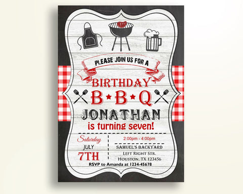 Barbecue Birthday Invitation Chalkboard Birthday Party Invitation Barbecue Birthday Party Chalkboard Invitation Boy Girl backyard bbq 2UCPI - Digital Product