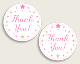 Twinkle Star Baby Shower Round Thank You Tags 2 inch Printable, Pink Gold Favor Gift Tags, Girl Shower Hang Tags Labels, Digital File bsg01