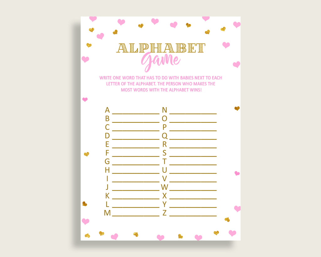 Alphabet Game Baby Shower Abc Game Hearts Baby Shower Alphabet Game Baby Shower Hearts Abc Game Pink Gold party supplies pdf jpg bsh01