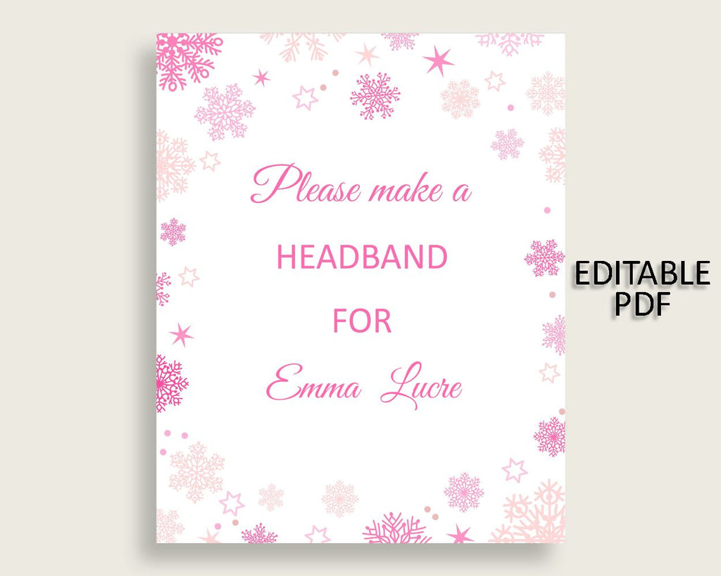 Headband Sign Baby Shower Headband Sign Winter Baby Shower Headband Sign Baby Shower Girl Headband Sign Pink White party theme 74RVX - Digital Product