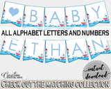 Banner Baby Shower Banner Nautical Baby Shower Banner Baby Shower Nautical Banner Blue Red party theme, customizable files, prints DHTQT - Digital Product