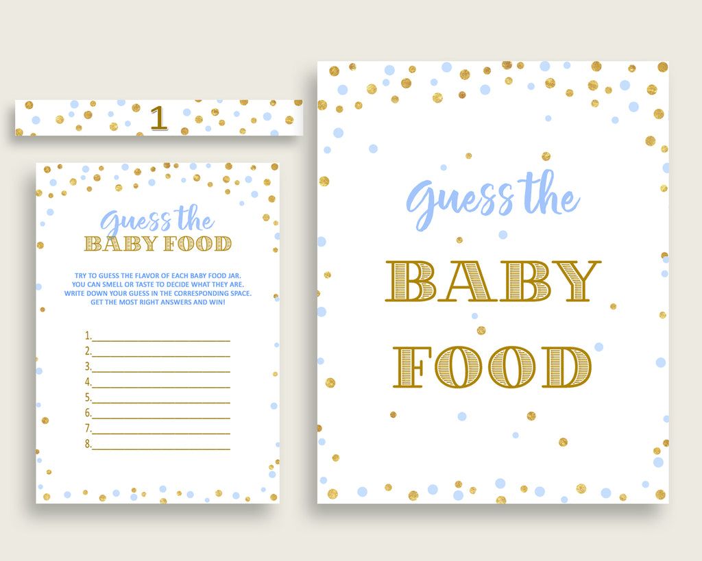Baby Food Guessing Baby Shower Baby Food Guessing Confetti Baby Shower Baby Food Guessing Blue Gold Baby Shower Confetti Baby Food cb001