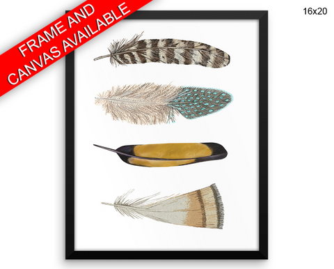 Feathers Print, Beautiful Wall Art with Frame and Canvas options available Home Decor