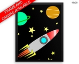 Rocket Stars Print, Beautiful Wall Art with Frame and Canvas options available Kids Room Decor