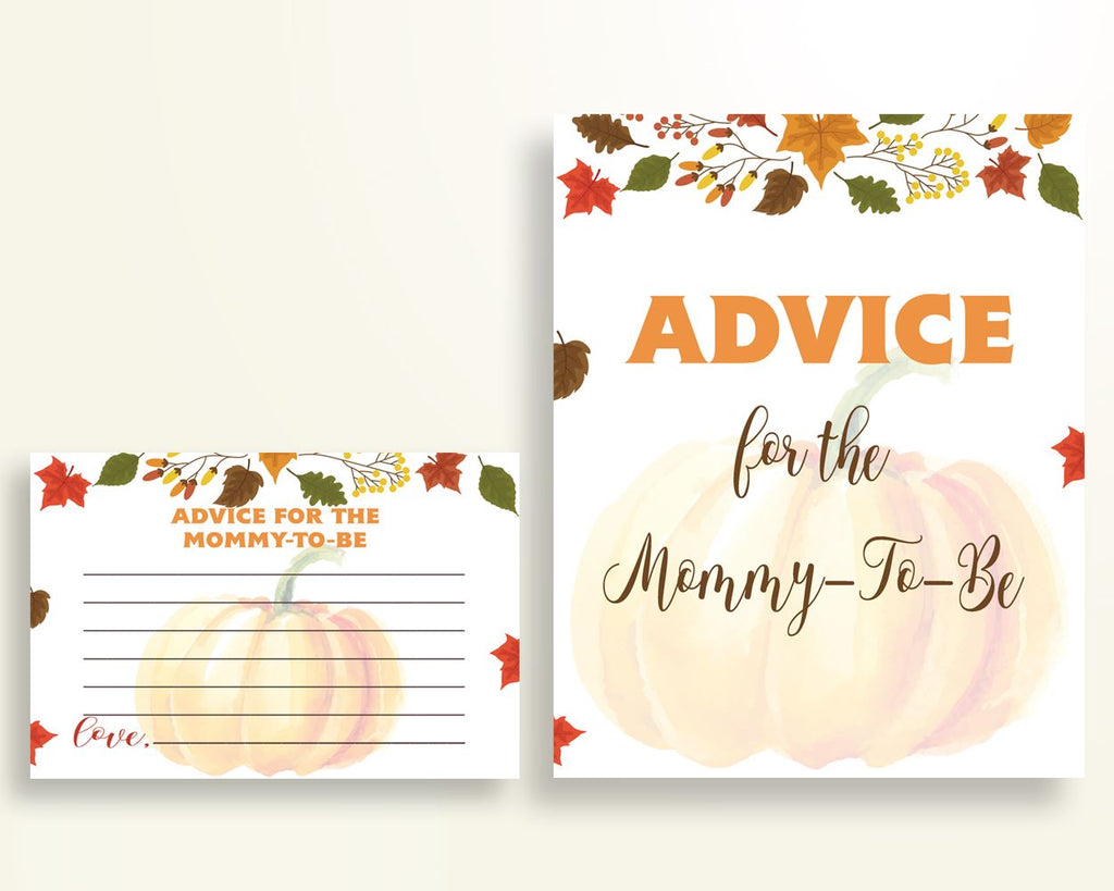 Advice Cards Baby Shower Advice Cards Autumn Baby Shower Advice Cards Baby Shower Pumpkin Advice Cards Orange Brown party supplies OALDE - Digital Product