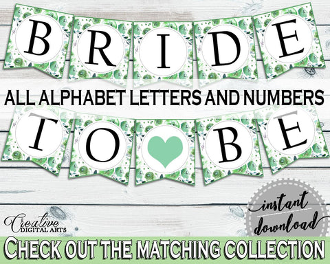 Banner Bridal Shower Banner Botanic Watercolor Bridal Shower Banner Bridal Shower Botanic Watercolor Banner Green White prints, party 1LIZN - Digital Product