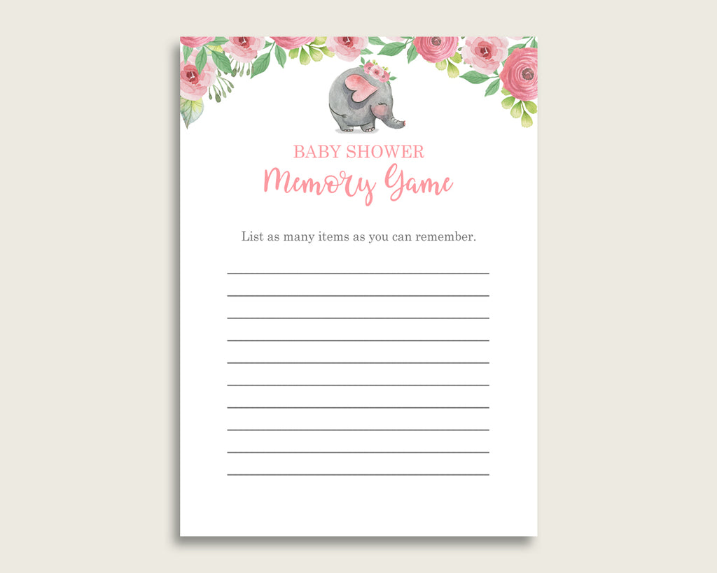 Pink Elephant Baby Shower Memory Game, Pink Grey Memory Guessing Game Printable, Baby Shower Girl, Instant Download, Botanical Garden ep001