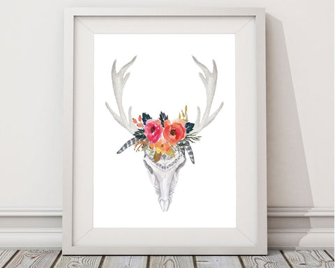 Wall Decor Antlers Printable Skull Prints Antlers Sign Skull Animal Art Skull Animal Print Antlers Printable Art Antlers boho watercolor - Digital Download
