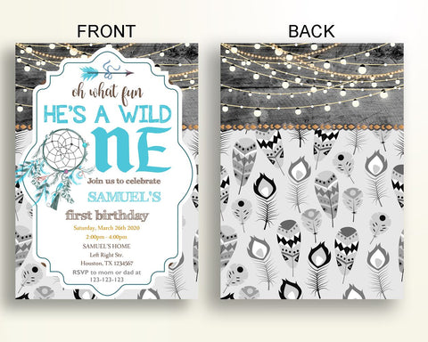 Wild One Birthday Invitation Rustic Party Boy Bohemian