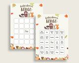 Woodland Baby Shower Bingo Cards Printable, Brown Beige Baby Shower Gender Neutral, 60 Prefilled Bingo Game Cards, Bear Forest w0001