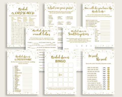 Games Bridal Shower Games Gold Bridal Shower Games Bridal Shower Gold Games Gold White party organizing party organising prints G2ZNX