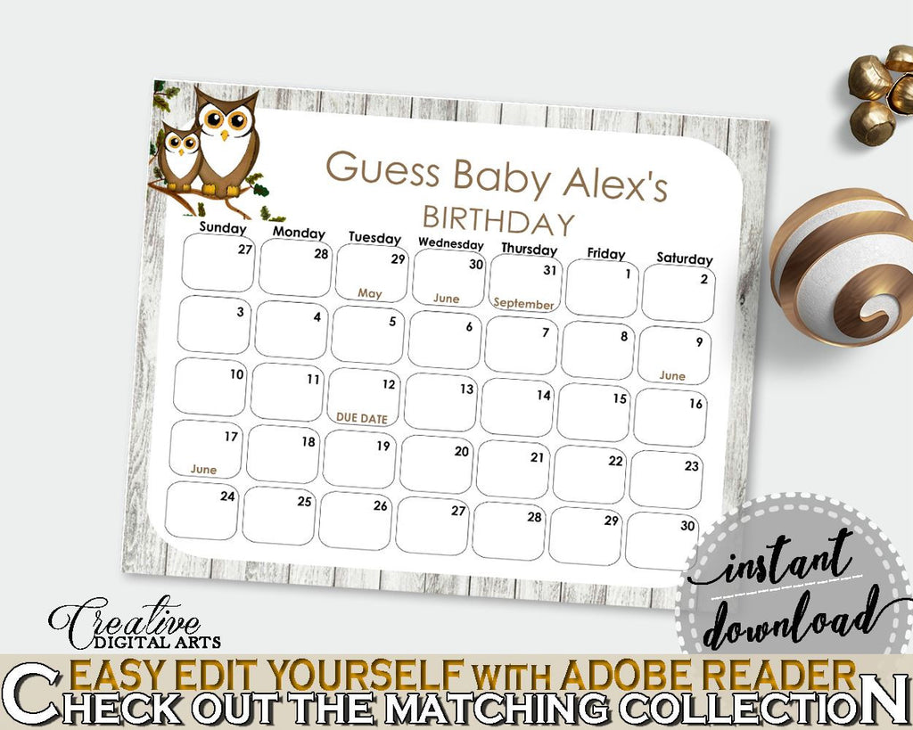 Birthday Predictions Baby Shower Birthday Predictions Owl Baby Shower Birthday Predictions Baby Shower Owl Birthday Predictions Gray 9PUAC - Digital Product