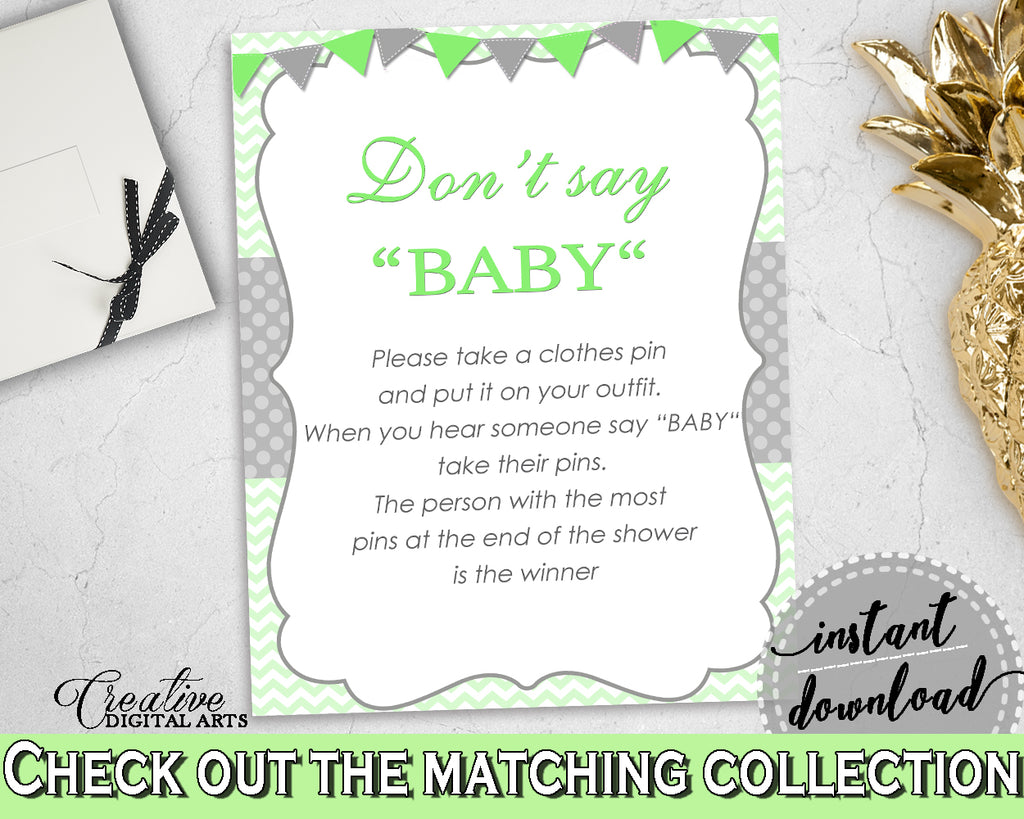 DON'T SAY BABY game for baby shower with chevron green neutral theme printable, digital files, Jpg Pdf, instant download - cgr01