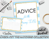 Advice For The Mommy To Be and Advice For The New Parents baby shower activities with blue white stripes, glitter, instant download - bs002