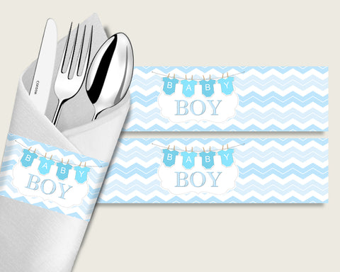 Chevron Baby Shower Napkin Rings Printable, Blue White Napkin Wrappers, Boy Shower Utensils Wrap, Instant Download, Stripy Lines cbl01