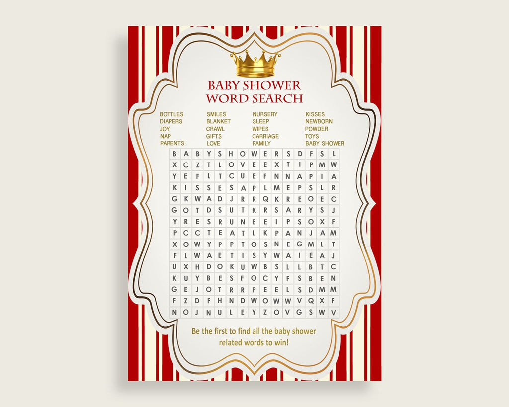 Prince Word Search Game, Red Gold Baby Shower Word Search Cards Printable, Boy Baby Shower Activities, Hidden Words, Instant Download, 92EDX