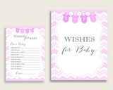 Pink White Wishes For Baby Cards & Sign, Chevron Baby Shower Girl Well Wishes Game Printable, Instant Download, Zig Zag Theme Popular cp001