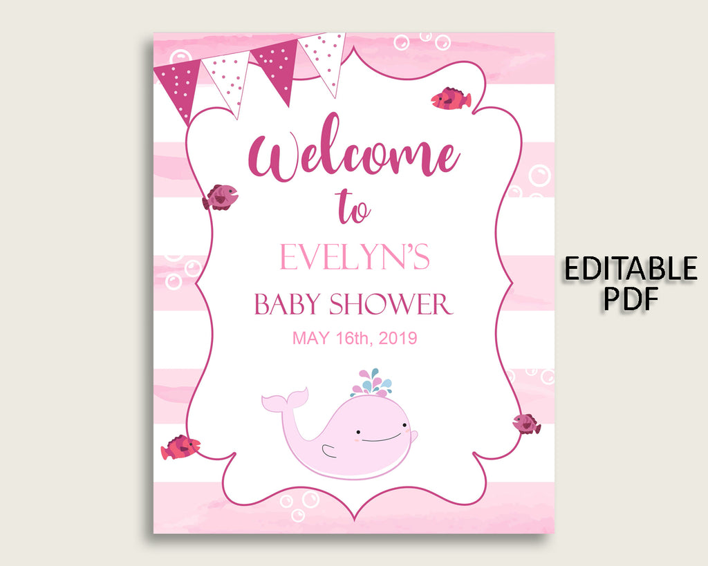 Welcome Sign Baby Shower Welcome Sign Pink Whale Baby Shower Welcome Sign Baby Shower Pink Whale Welcome Sign Pink White Baby Whale wbl02