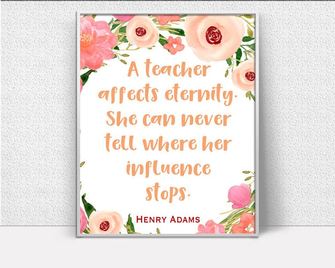 Wall Art Gift Digital Print Teacher Poster Art Gift Wall Art Print Teacher Quote Art Teacher Quote Print Gift Wall Decor Gift teachers quote - Digital Download