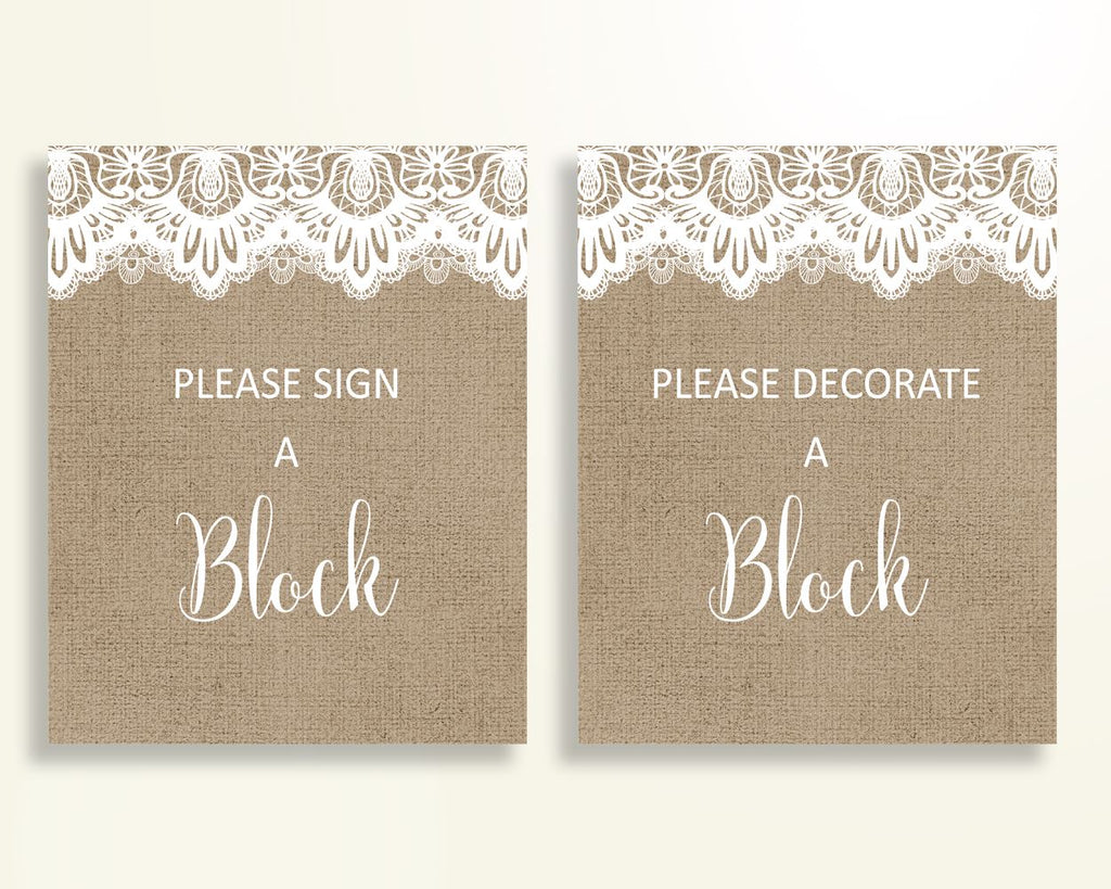 Sign A Block Baby Shower Decorate A Block Burlap Lace Baby Shower Sign A Block Baby Shower Burlap Lace Decorate A Block Brown White W1A9S - Digital Product