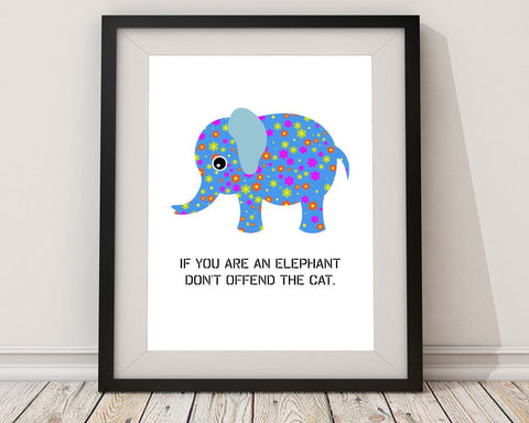 Wall Art Floral Digital Print Elephant Poster Art Floral Wall Art Print Elephant Nursery Art Elephant Nursery Print Floral Wall Decor Floral - Digital Download