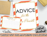 Advice For The Mommy To Be and Advice For The New Parents baby shower activities with orange striped, glitter, instant download - bs003