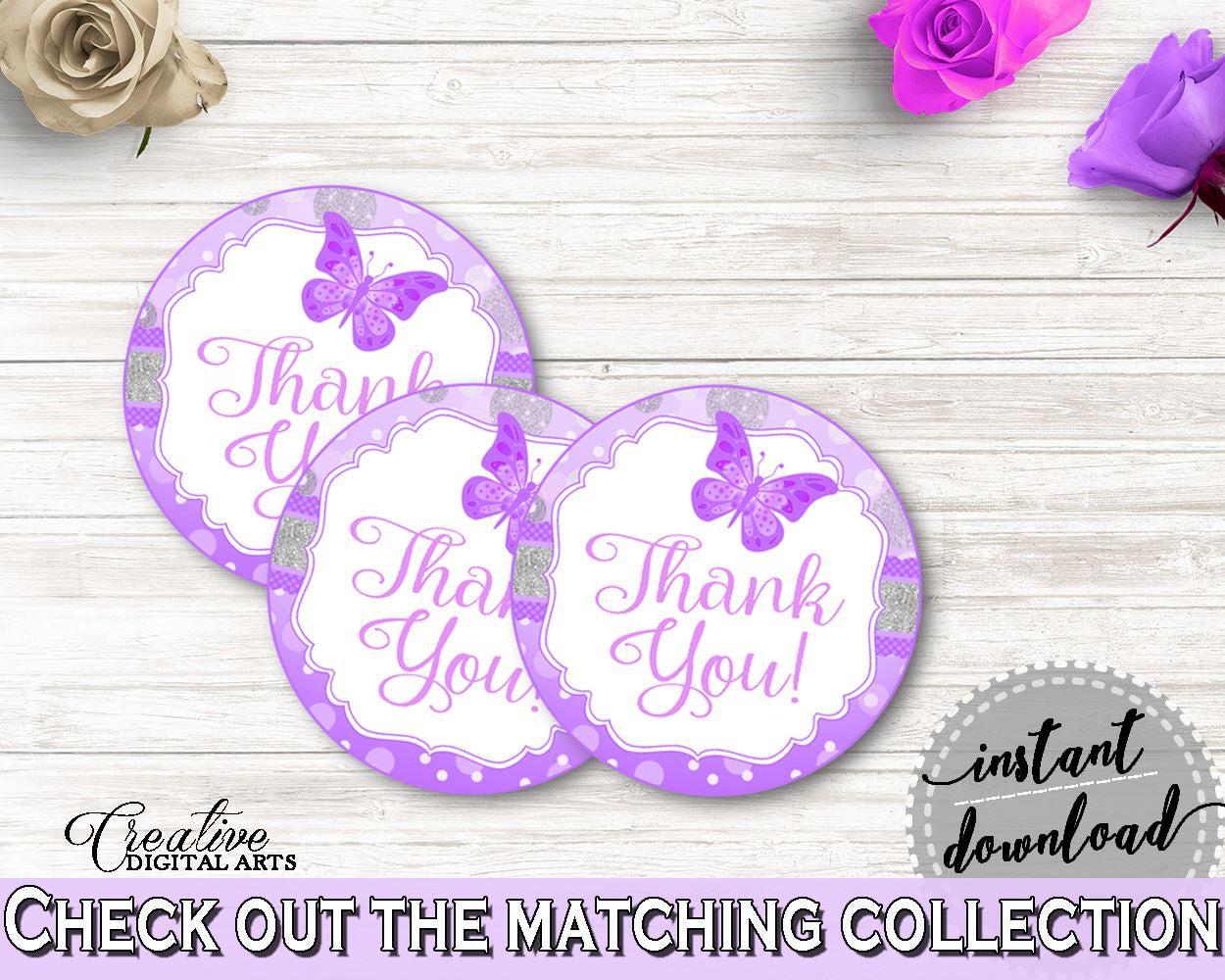 Round Tags Baby Shower Round Tags Butterfly Baby Shower Round Tags Baby Shower Butterfly Round Tags Purple Pink party stuff, prints 7AANK - Digital Product
