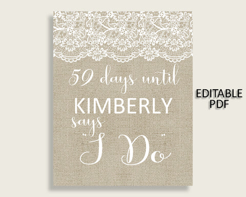 Days Until I Do Bridal Shower Days Until I Do Burlap And Lace Bridal Shower Days Until I Do Bridal Shower Burlap And Lace Days Until I NR0BX