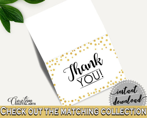 Thank You Card Bridal Shower Thank You Card Confetti Bridal Shower Thank You Card Bridal Shower Confetti Thank You Card Gold White CZXE5 - Digital Product