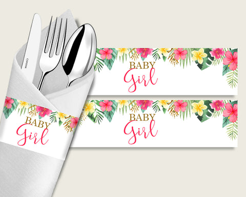 Hawaiian Baby Shower Napkin Rings Printable, Pink Green Napkin Wrappers, Girl Shower Utensils Wrap, Instant Download, Luau Aloha 955MG