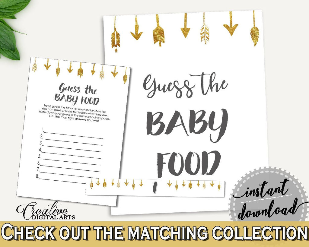 Baby Food Guessing Baby Shower Baby Food Guessing Gold Arrows Baby Shower Baby Food Guessing Baby Shower Gold Arrows Baby Food I60OO - Digital Product