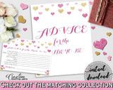 Advice For The Bride To Be in Glitter Hearts Bridal Shower Gold And Pink Theme, advice cards,  lovely bridal shower, party plan - WEE0X - Digital Product