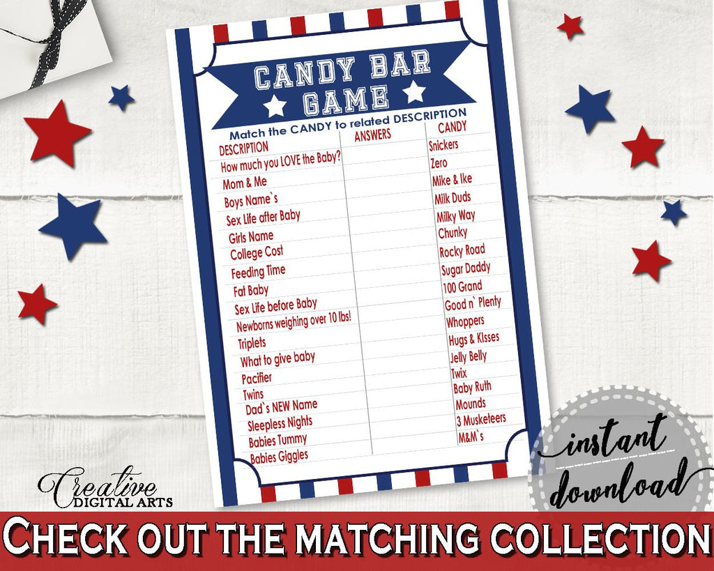 Candy Bar Game Baby Shower Candy Bar Game Baseball Baby Shower Candy Bar Game Baby Shower Baseball Candy Bar Game Blue Red printable - YKN4H - Digital Product