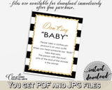 DON'T SAY BABY game for baby shower with black white stripes theme printable glitter gold, digital files, Jpg Pdf, instant download - bs001